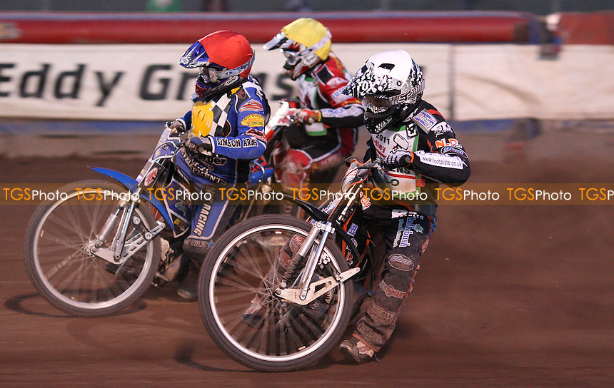 Heat 14: Ben Hopwood (red), Ashley Morris (white) and Darryl Ritchings (yellow) - Hackney Hawks vs Dudley Heathens, National League Speedway at the Arena Essex Raceway, Purfleet - 27/05/11 - MANDATORY CREDIT: Rob Newell/TGSPHOTO - Self billing applies where appropriate - 0845 094 6026 - contact@tgsphoto.co.uk - NO UNPAID USE.