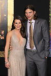 "LEA MICHELE, ASHTON KUTCHER. World Premiere of Warner Brothers Pictures' ""New Year's Eve,"" at Grauman's Chinese Theatre. Hollywood, CA USA. December 5, 2011.©CelphImage"