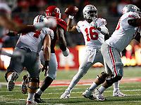 Ohio State Buckeyes quarterback J.T. Barrett (16) looks for a pass before deciding to run with the ball in the second  half of their game at the High Point Solutions Stadium on the Rutgers University campus in Pisccataway, NJ on September 30, 2017. [ Brooke LaValley / Dispatch ]