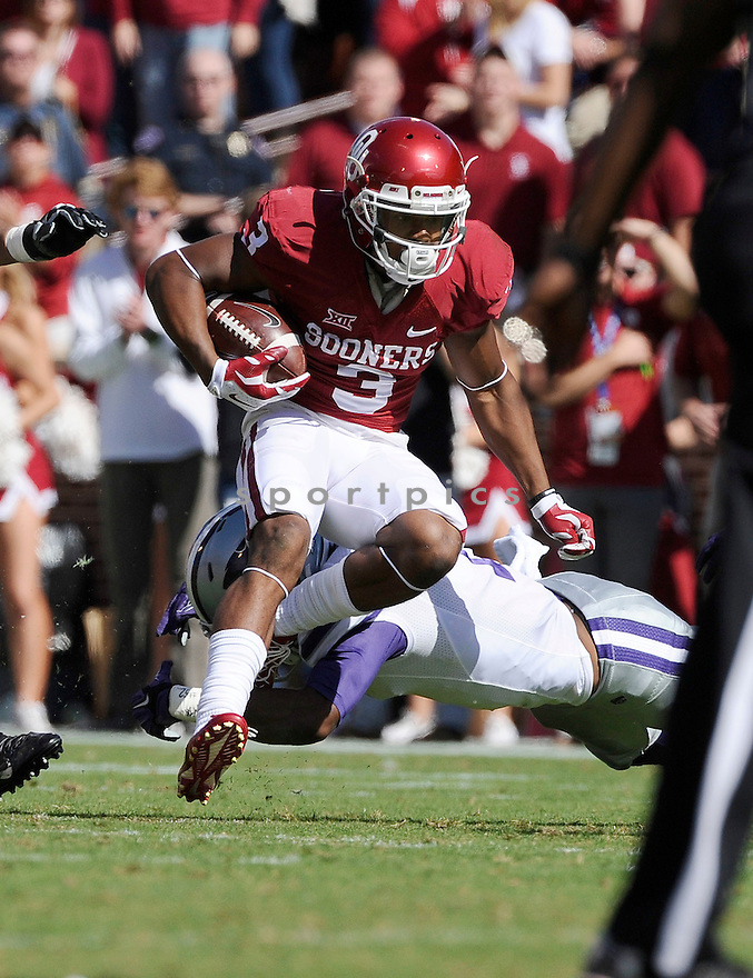 Oklahoma Sooners Sterling Shepard (3) during a game against the Kansas State Wildcats on October 18, 2014 at Memorial Stadium in Norman, OK. Kansas State beat Oklahoma 31-30.