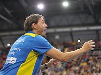 Handball 1. Bundesliga Frauen 2013/14 - Handballclub Leipzig (HCL) gegen Thüringer HC (THC) am 30.10.2013 in Leipzig (Sachsen). <br /> IM BILD: HCL Trainer Thomas Swed Örneborg / Oerneborg <br /> Foto: Christian Nitsche / aif