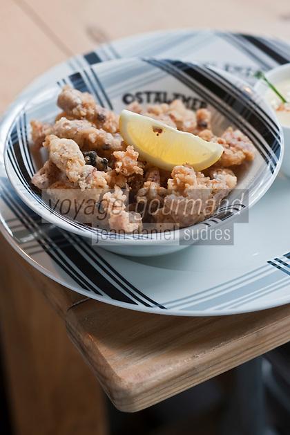 Europe/France/Aquitaine/64/Pyrénées-Atlantiques/Pays Basque/Saint-Jean-de-Luz: Puntillas  , petits poulpes frits - Recette du restaurant Ostalamer
