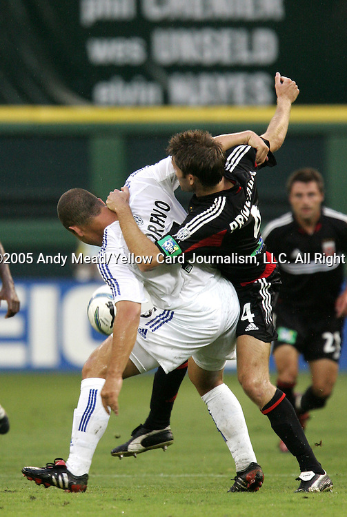 15 July 2005: Alejandro Moreno (l) and Brandon Prideaux (4) challenge for the ball. DC United defeated the San Jose Earthquakes 3-0 at RFK Stadium in Washington, DC in a regular season Major League Soccer game.