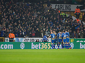 5th February 2019, Molineux Stadium, Wolverhampton, England; FA Cup football, 4th round replay, Wolverhampton Wanderers versus Shrewsbury Town; James Bolton of Shrewsbury Town celebrates with his team mates after equalising in the 11th minute 1-1