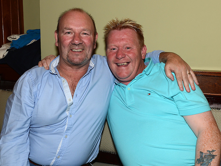 Patrick O'Neill and Sean Grogan at Seapoint Golf Captains prizegiving in Tommy Hannratty's Bar & Lounge. Photo:Colin Bell/pressphotos.ie