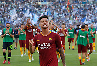 Roma's Lorenzo Pellegrini greets fans at the end of the Italian Serie A football match between Roma and Lazio at Rome's Olympic stadium, September 29, 2018. Roma won 3-1.<br /> UPDATE IMAGES PRESS/Riccardo De Luca