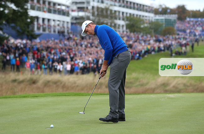 Henrik Stenson (EUR) putts for par during Sunday's Singles at the 2014 Ryder Cup from Gleneagles, Perthshire, Scotland. Picture:  David Lloyd / www.golffile.ie