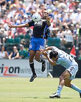 12 July 2008: Ryan Johnson of the Earthquakes battles for the ball in the air against Pablo Mastroeni of the Rapids during the game at Buck Shaw Stadium in Santa Clara, California.   San Jose Earthquakes tied Colorado Rapids, 1-1.