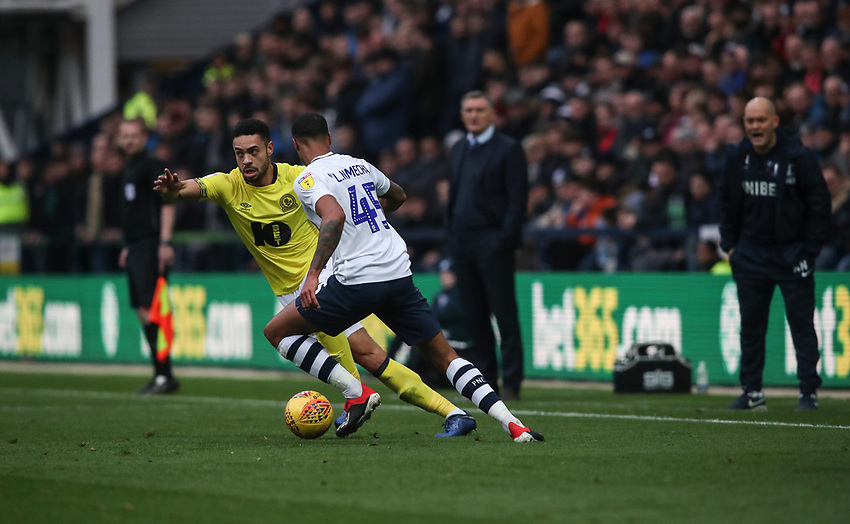 Blackburn Rovers' Derrick Williams and Preston North End's Lukas Nmecha<br /> <br /> Photographer Rachel Holborn/CameraSport<br /> <br /> The EFL Sky Bet Championship - Preston North End v Blackburn Rovers - Saturday 24th November 2018 - Deepdale Stadium - Preston<br /> <br /> World Copyright © 2018 CameraSport. All rights reserved. 43 Linden Ave. Countesthorpe. Leicester. England. LE8 5PG - Tel: +44 (0) 116 277 4147 - admin@camerasport.com - www.camerasport.com