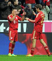 FUSSBALL   1. BUNDESLIGA  SAISON 2011/2012   15. Spieltag FC Bayern Muenchen - SV Werder Bremen        03.12.2011 Jubel nach dem Tor zum 1:0 Franck Ribery, Thomas Mueller (v. li., FC Bayern Muenchen)