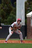 Stony Brook Seawolves outfielder Travis Jankowski #6 leading off first base during a game against the East Carolina University Pirates at Clark-LeClair Stadium on March 4, 2012 in Greenville, NC.  East Carolina defeated Stony Brook 4-3. (Robert Gurganus/Four Seam Images)