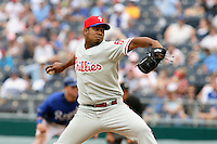 Philadelphia Phillies RHP Francisco Rosario enters the game in the eighth inning at Kauffman Stadium in Kansas City, Missouri on June 10, 2007.  The Royals won 17-5.