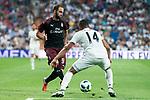 Real Madrid Caseiro and A.C. Milan Gonzalo Higuain during Santiago Bernabeu Trophy match at Santiago Bernabeu Stadium in Madrid, Spain. August 11, 2018. (ALTERPHOTOS/Borja B.Hojas)