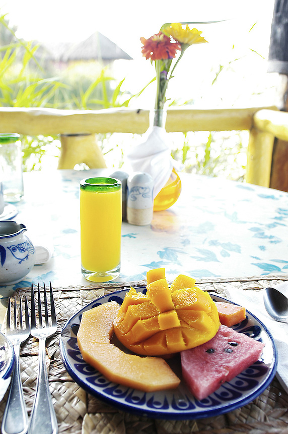 Breakfast at the Hotelito Desconocido  an extremely luxurious eco-friendly hotel on Costalegre, Jalisco, Mexico