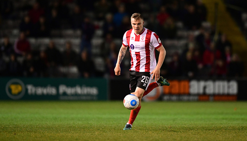 Lincoln City's Harry Anderson<br /> <br /> Photographer Chris Vaughan/CameraSport<br /> <br /> Vanarama National League - Lincoln City v Chester - Tuesday 11th April 2017 - Sincil Bank - Lincoln<br /> <br /> World Copyright &copy; 2017 CameraSport. All rights reserved. 43 Linden Ave. Countesthorpe. Leicester. England. LE8 5PG - Tel: +44 (0) 116 277 4147 - admin@camerasport.com - www.camerasport.com