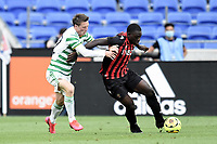 16th July 2020; Nice, France; Veolia Trohy Football friendly, OGC Nice versus Celtic FC;  Jean-Victor Makengo nice holds off the challenge from Callum McGregor celtic