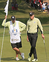 28 SEP 12 Ian Poulter and Justin Roses caddie Fooch  during Fridays foresome and four ball matches  at The 39th Ryder Cup at The Medinah Country Club in Medinah, Illinois.