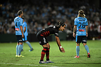 28th February 2020; Netstrata Jubilee Stadium, Sydney, New South Wales, Australia; A League Football, Sydney FC versus Western Sydney Wanderers; Daniel Georgievski of Western Sydney Wanderers demonstrates to a team mate where he wanted the pass