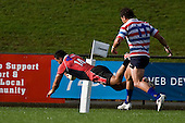 Lelia Masaga dives over in the corner to score the first of the Steelers 3 tries. Air New Zealand Air NZ Cup warm-up rugby game between the Counties Manukau Steelers & Tasman Mako's, played at Growers Stadium Pukekohe on Sunday July 20th 2008..Counties Manukau won the match 30 - 7.
