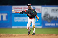 Batavia Muckdogs second baseman Demetrius Sims (55) throws to first base during the first game of a doubleheader against the Mahoning Valley Scrappers on August 28, 2017 at Dwyer Stadium in Batavia, New York.  Mahoning Valley defeated Batavia 6-3.  (Mike Janes/Four Seam Images)