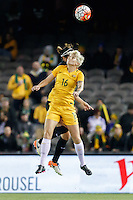 June 7, 2016: MICHELLE HEYMAN (16) of Australia heads the ball during an international friendly match between the Australian Matildas and the New Zealand Football Ferns as part of the teams' preparation for the Rio Olympic Games at Etihad Stadium, Melbourne. Photo Sydney Low