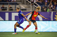 Orlando, Florida - Sunday, May 14, 2016: Western New York Flash forward Lynn Williams (9) and Orlando Pride defender Toni Pressley (3) during a National Women's Soccer League match between Orlando Pride and New York Flash at Camping World Stadium.