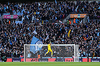 Claudio Bravo of Manchester City celebrates after Sergio Aguero of Manchester City opens the scoring during Aston Villa vs Manchester City, Caraboa Cup Final Football at Wembley Stadium on 1st March 2020