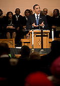 United States President Barack Obama speaks at Vermont Avenue Baptist Church, Sunday, January 17, 2010 in Washington, DC.  President Obama spoke during a service in honor of civil rights leader Dr. Martin Luther King Jr. .Credit: Brendan Smialowski - Pool via CNP