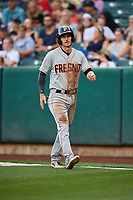Colin Walsh (1) of the Fresno Grizzlies walks back to the dugout against the Salt Lake Bees at Smith's Ballpark on September 3, 2017 in Salt Lake City, Utah. The Bees defeated the Grizzlies 10-8. (Stephen Smith/Four Seam Images)