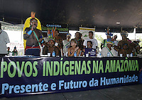 Indigenous people Paulo Kayapo  (L) speaks  during the meeting at World Social Forum, in Belem, Brazil, Wednesday, Jan. 28, 2009.