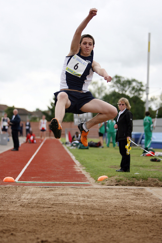 Photo: Rich Eaton...Schools International Athletic Board, Track & Field International Match, Newport. 21/07/2007. Kyle Henderson of Scotland competes in the boys long jump.