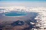Southwest flight from Las Vegas, Nevada, to Sacremento, California...Mono Lake and the snow-covered Sierra Nevada