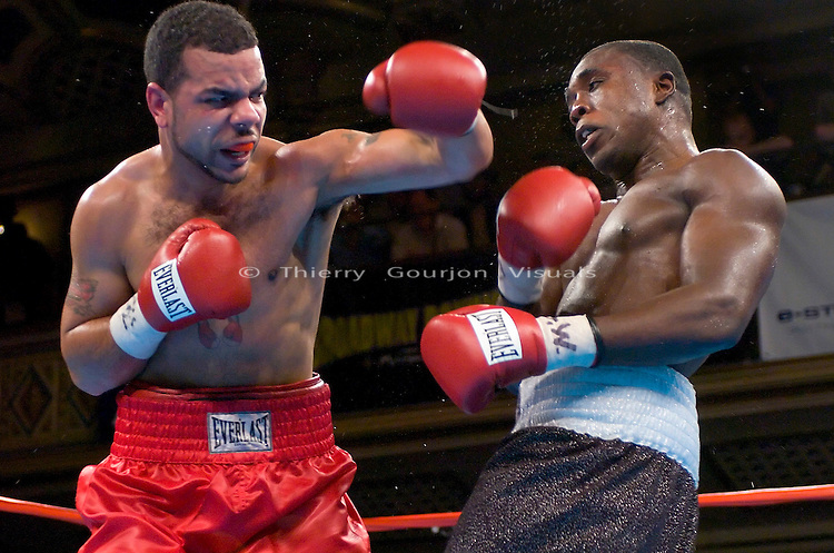 Andre Berto (r) on the defense against  Anthony Little during their 6 rounds  Junior Middleweight fight at the Manhattan Center in N.Y.C. on 06.05.05. Berto won by TKO in the 6 round.<br />