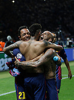 Calcio, finale di Champions League Juventus vs Barcellona all'Olympiastadion di Berlino, 6 giugno 2015.<br /> From left, FC Barcelona's Adriano, Neymar and Dani Alves celebrate of the Champions League football final between Juventus Turin and FC Barcelona, at Berlin's Olympiastadion, 6 June 2015. Barcelona won 3-1.<br /> UPDATE IMAGES PRESS/Isabella Bonotto