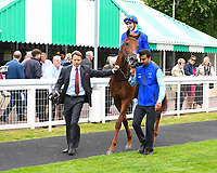 Winner of The Gift Of Sight Appeal EBF Novice Stakes Div 2  Global Hero ridden by Hector Crouch is led into the winners enclosure during the Bathwick Tyres & EBF Race Day at Salisbury Racecourse on 6th September 2018