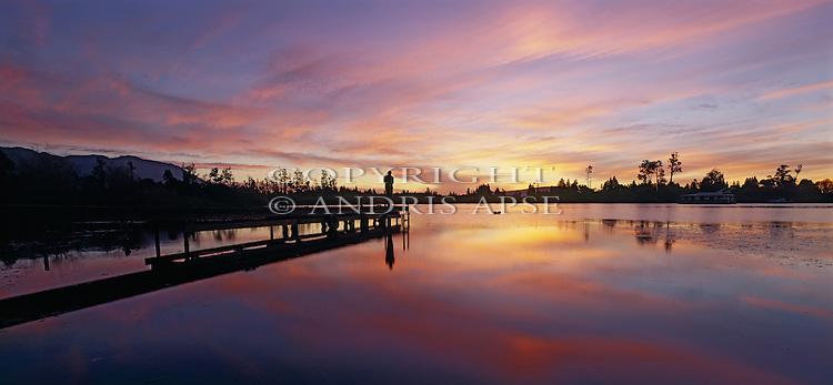Sunset at Lake Moana. Westland Region. New Zealand.