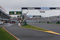 General view of the exit of pit lane prior to the second qualifying session on day four of the 2013 Formula One Rolex Australian Grand Prix at the Albert Park Circuit in Melbourne, Australia.