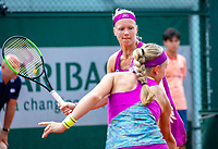 Paris, France, 01 June, 2018, Tennis, French Open, Roland Garros, Womans Doubles : Kiki Bertens (NED) (back) and Johanna Larsson (SWE)<br /> Photo: Henk Koster/tennisimages.com