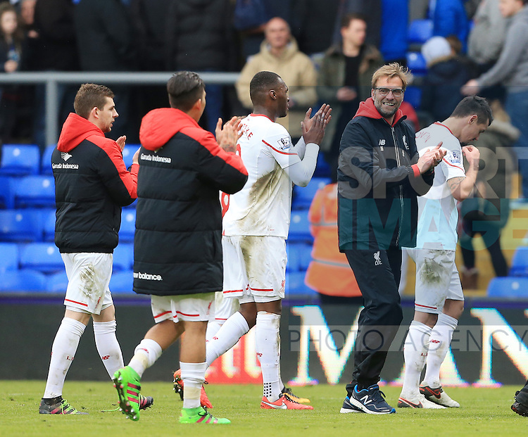 Liverpool's Jurgen Klopp celebrates at the final whistle<br /> <br /> - English Premier League - Crystal Palace vs Liverpool  - Selhurst Park - London - England - 6th March 2016 - Pic David Klein/Sportimage