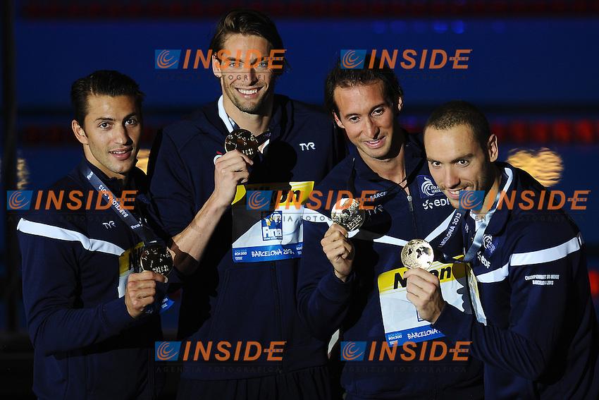 France Gold Medal 4x100m Medley Relay <br /> LACOURT&nbsp;Camille PEREZ&shy;DORTONA&nbsp;Giacomo STRAVIUS&nbsp;Jeremy <br /> GILOT&nbsp;Fabien <br /> Swimming - Nuoto <br /> Barcellona 4/8/2013 Palau St Jordi <br /> Barcelona 2013 15 Fina World Championships Aquatics <br /> Foto Andrea Staccioli Insidefoto