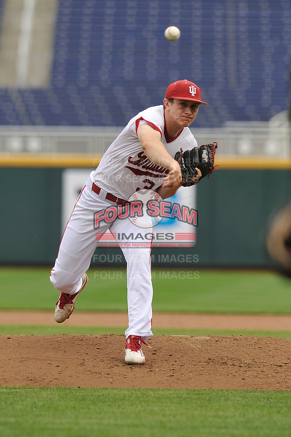 Indiana Hoosiers Jonathan Stiever (34) throws during the Big Ten Tournament against the Maryland Terrapins at TD Ameritrade Park on May 25, 2016 in Omaha, Nebraska.  Maryland  won 5-3.  (Dennis Hubbard/Four Seam Images)