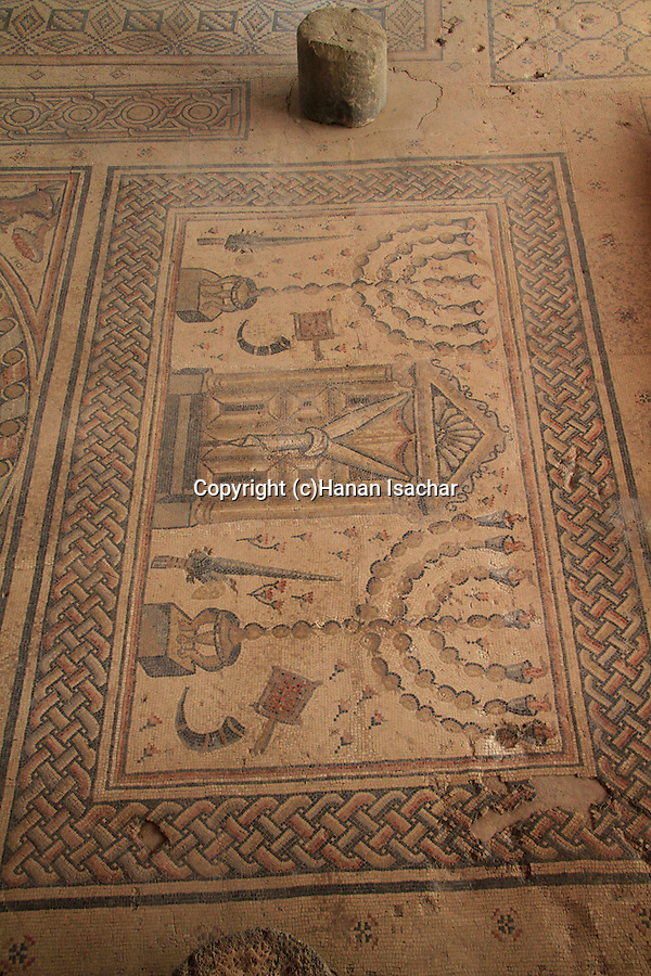 Israel, Galilee, Hamat Tiberias by the Sea of Galilee, the mosaic floor of the 3rd-4th centuries AD Synagogue
