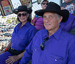 """Bob and Arlene Stuhr during Purple Night at the Rodeo on Tuesday night, June 21, 2016.  """"Man Up Crusade Night"""" encouraged rodeo goers to wear purple for advocacy to stop domestic violence."""