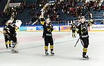 Stockholm 2014-10-14 Ishockey Hockeyallsvenskan AIK - Malm&ouml; Redhawks :  <br /> AIK:s Marcus Jonsson och Claes Nord&eacute;n tackar publiken efter matchen och segern &ouml;ver Malm&ouml; Redhawks <br /> (Foto: Kenta J&ouml;nsson) Nyckelord:  AIK Gnaget Hockeyallsvenskan Allsvenskan Hovet Johanneshov Isstadion Malm&ouml; Redhawks jubel gl&auml;dje lycka glad happy