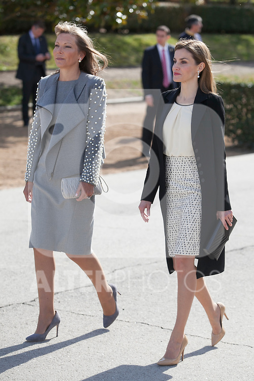 Queen Letizia of Spain and Colombia´s President wife Maria Clemencia Rodriguez during welcome ceremony at the Pardo Palace in Madrid, Spain. March 01, 2015. (ALTERPHOTOS/Victor Blanco)