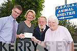 TOWARDS THE ANIMALS: Staff from Fleet Street Travel, Tralee raised 2132.40 during.a Sponsored Walk in May towards the upkeep of the animals in the KSPCA Animal.Shelter. From l-r were: Niall Trant (Fleet Street Travel), Lorraine Corkery (Fleet Street.Travel), Harry McDaid (KSPCA) and Ann McDaid (KSPCA).