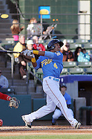 Myrtle Beach Pelicans outfielder Chris Garia #4 at bat during a game against the Potomac Nationals at Ticketreturn.com Field at Pelicans Ballpark on April 16, 2014 in Myrtle Beach, South Carolina. Potomac defeated Myrtle Beach 7-3. (Robert Gurganus/Four Seam Images)