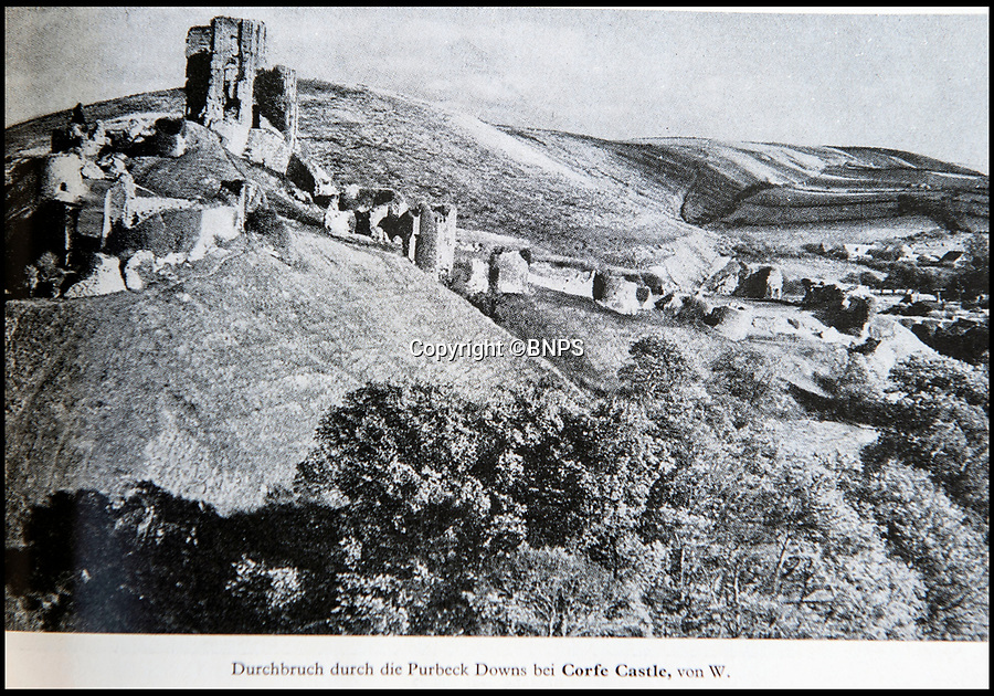 BNPS.co.uk (01202 558833)<br /> Pic: PhilYeomans/BNPS<br /> <br /> Even Corfe Castle in Dorset was photographed.<br /> <br /> Chilling - Hitlers 'How to' guide to the invasion of Britain.<br /> <br /> A remarkably detailed invasion plan pack of Britain has been unearthed to reveal how our genteel seaside resorts would have been in the front line had Hitler got his way in World War Two.<br /> <br /> The Operation Sea Lion documents, which were issued to German military headquarters' on August 1, 1940, contain numerous maps and photos of every town on the south coast.<br /> <br /> They provide a chilling reminder of how well prepared a German invading force would have been had the Luftwaffe not been rebuffed by The Few in the Battle of Britain.<br /> <br /> There is a large selection of black and white photos of seaside resorts and notable landmarks stretching all the way from Land's End in Cornwall to Broadstairs in Kent.<br /> <br /> The pack also features a map of Hastings, raising the possibility that a second battle could have been staged there, almost 900 years after the invading William The Conqueror triumphed in 1066.