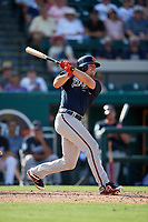 Atlanta Braves right fielder Gary Schwartz (57) hits a home run in the top of the eighth inning during a Grapefruit League Spring Training game against the Detroit Tigers on March 2, 2019 at Publix Field at Joker Marchant Stadium in Lakeland, Florida.  Tigers defeated the Braves 7-4.  (Mike Janes/Four Seam Images)