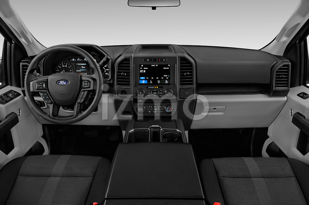 Stock photo of straight dashboard view of 2019 Ford F-150 XL-SuperCrew 2 Door Pick-up Dashboard